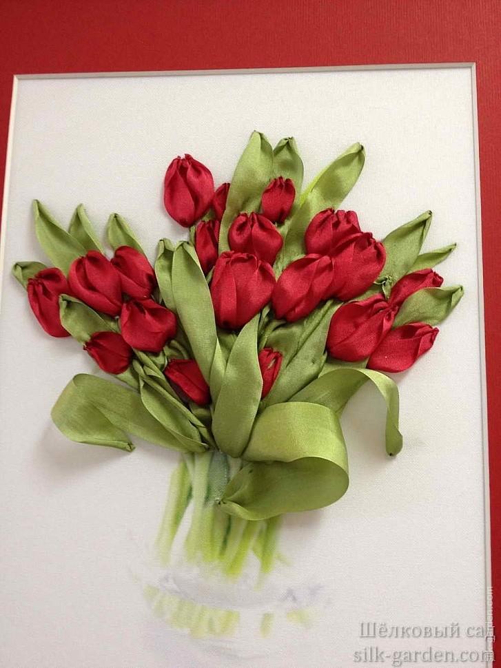Вышивка тюльпаны из атласных лент
