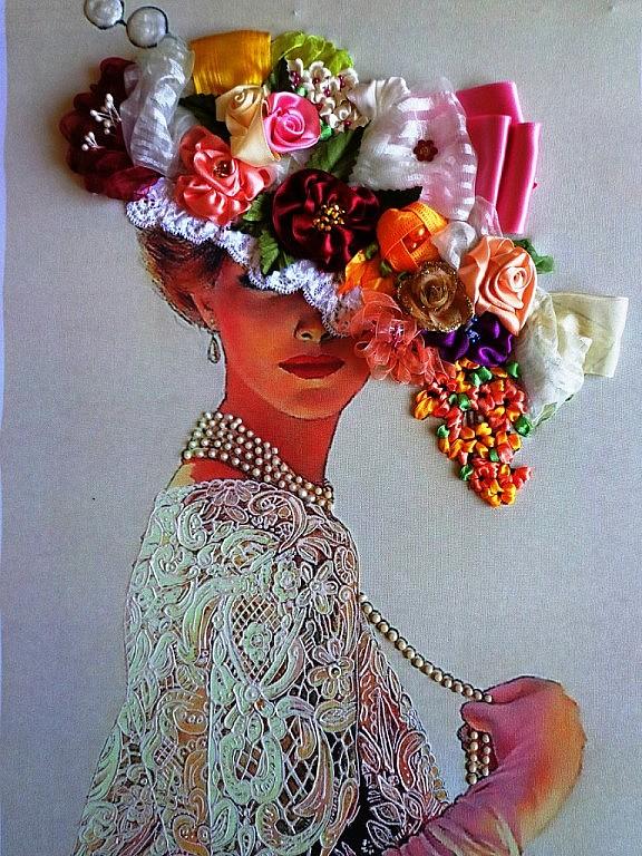 Вышивка лентами - Дама в шляпе